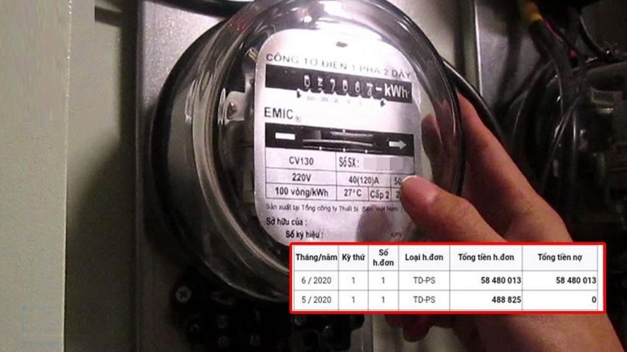 Khách hàng tá hoả nhận hoá đơn tiền điện 58 triệu đồng vì bị ghi nhầm chỉ số điện